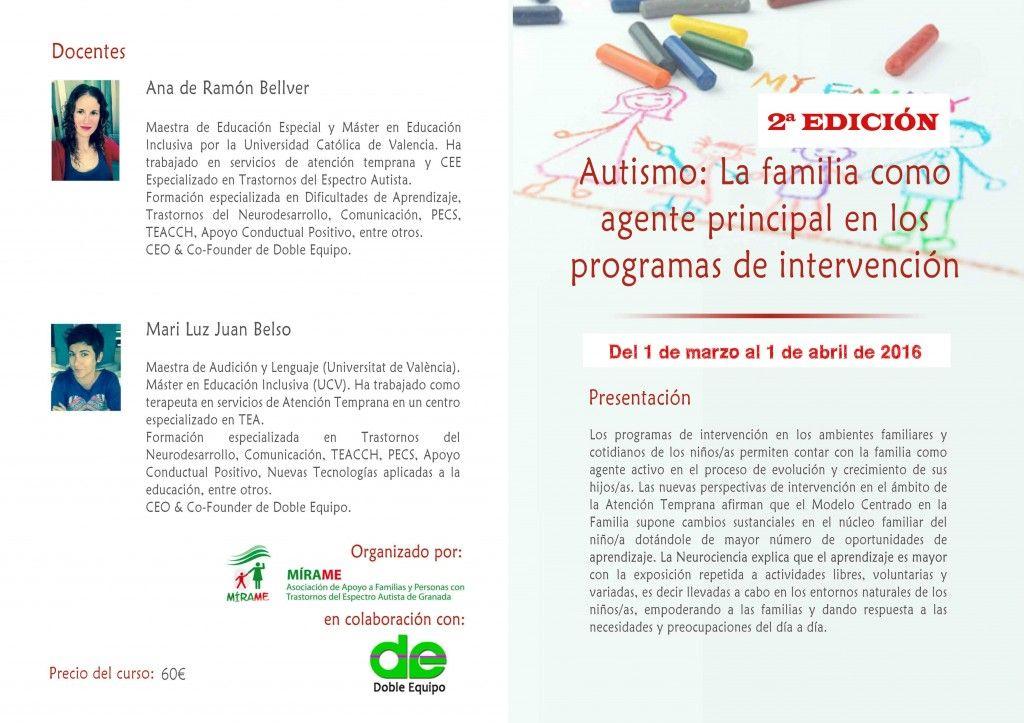 Curso: Autismo, la familia como agente principal en los programas de intervención (2ª edición)