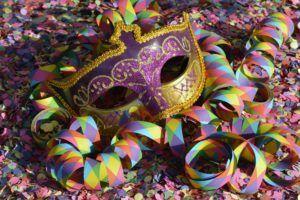 máscara, confeti